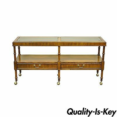 Vintage Hollywood Regency Faux Bamboo 2 Drawer Console Hall Sofa Table Server