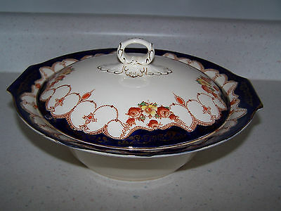 Myott And Son Co. England -  Rosemary Covered Vegetable Bowl - Cobalt Trim