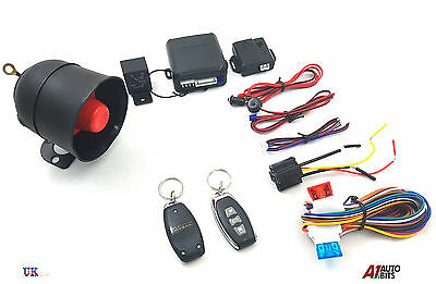 Universal Car Security Alarm System Central Locking And Shock Sensor + 2 Fobs Uk