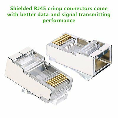 100 x Shielded RJ45 Crimp Connector Modular Plug 8P8C CAT6 CAT6a STP LAN Network
