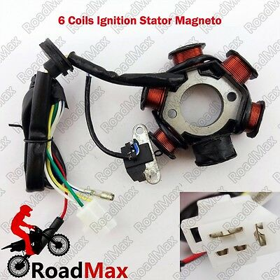 GY6 6 Poles Coils Ignition Magneto Stator 50cc Chinese Scooter Moped GoKart ATV