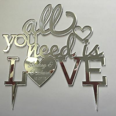 All you need is love Beatles personalised engraved Mr & Mrs cake topper wedding