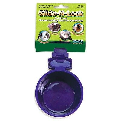 10oz SLIDE-N-LOCK PET CROCK RABBIT BIRD CHINCHILLA CAT DOG FEEDER & OR WATERER