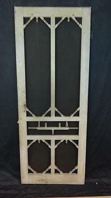 Antique Wooden House or Store Screen Door with Fancy Graphic Turnings in Paint