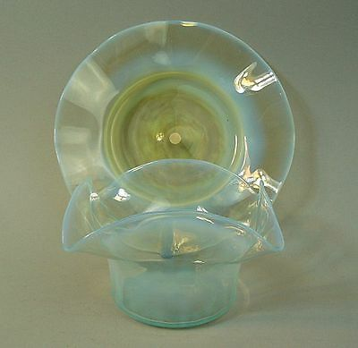A Fine Victorian Vaseline Glass Sundae Dish & Stand Probably By Powell C.1880