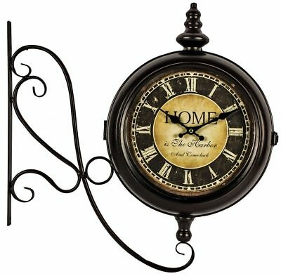 Vintage Station Wall Clock - Antique Black Iron Support With Double Clock Faces