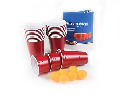 Red BeerCup 16 Oz Beer Pong Set - Rote Becher + Bälle (Orange) und Regelwerk