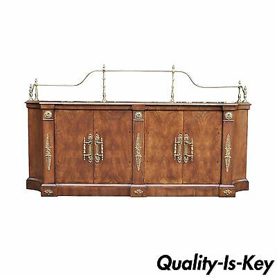 Vintage Century French Empire Neoclassical Burl Wood Credenza Sideboard Cabinet