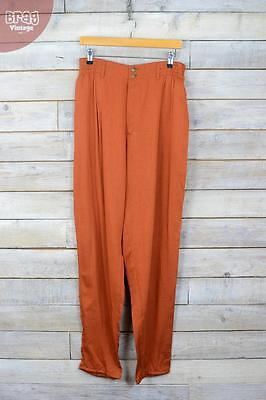 Burnt Orange Fly & Button Fasten High Waisted Slouch Trousers (M) (12/14)