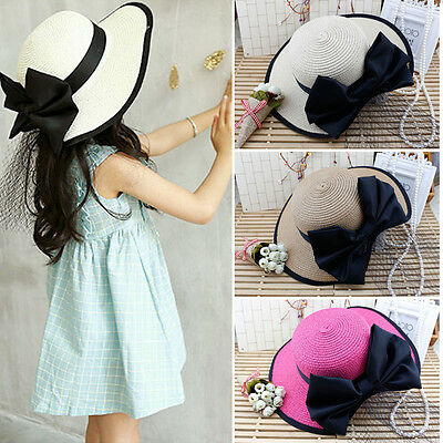 Girl Infant Kids Children Lace Bowknot Beach Cap Straw Hat Summer Fashion