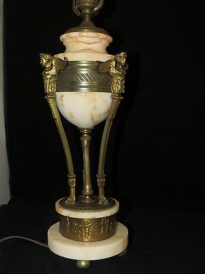 Nude Sphinx Goddess Alabaster & Brass Table Lamp Art Deco Egyptian Revival