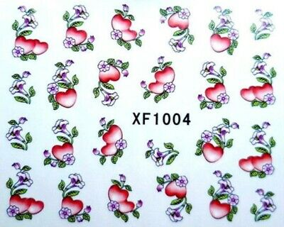 Nail Art Sticker Water Decals Transfer Stickers Valentines Hearts (XF1004)
