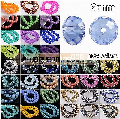 100pcs 6x4mm Rondelle Faceted Charm Crystal Glass Loose Spacer Crafts Beads lot