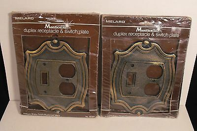 Set 2  Melard Antique Brass Finish Monticello Receptacle & Switch-Plate Covers