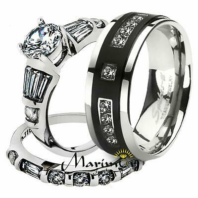 2.50 Ct Marquise Cut CZ Black Stainless Steel Wedding Ring Set Women/'s Size 5-11