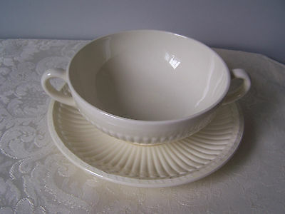Wedgwood Of Etruria & Barlaston Edme Cream Soup Bowl And Underplate / Liner