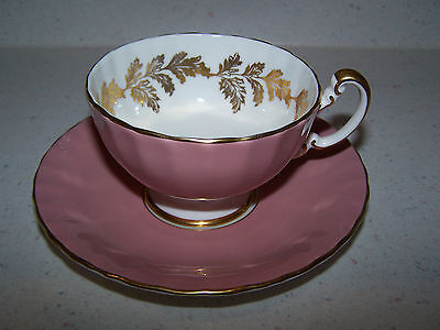 Aynsley Footed Pink English Bone China Cup And Saucer - Gold Leaves Inside