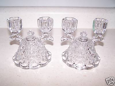 2 Laced Edge Depression Glass 2 Branch Candle Holders