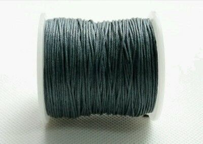 10m grey waxed cotton cord macrame craft jewellery necklace beading DIY string