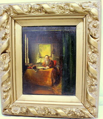 Judaica Antique oil on wood painting, Rabbi Studying, 12 x 15 early 18th Century