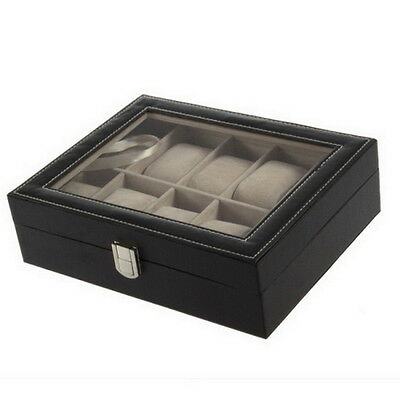 PU Leather 10 Slots Wrist Watch Display Box Storage Holder Organizer Case XL