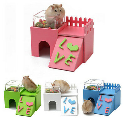 Wooden House Villa Cage Exercise Toys for Hamster Hedgehog Mouse Multifunction