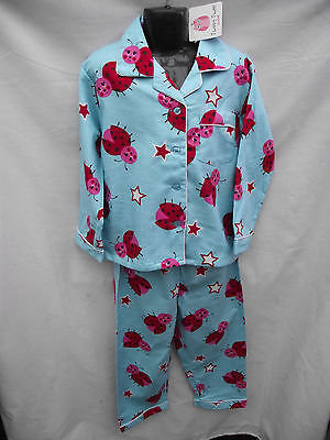 BNWT Girls Sz 3 Cute Aqua Lady Bug Print Long Flannel Winter Style PJ Pyjamas