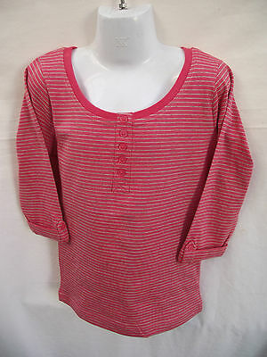 BNWT Girls Sz 7 Rivers Doghouse Brand Cute Coral Stripe Half Sleeve Henley Top