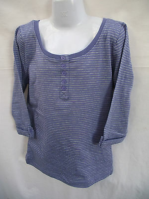 BNWT Girls Sz 7 Rivers Doghouse Brand Cute Purple Stripe Half Sleeve Henley Top