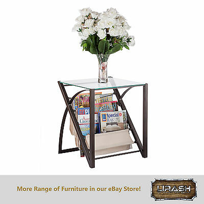 Magazine Stand End Side Corner Table with Fabric Curvy Compartment and Glass Top