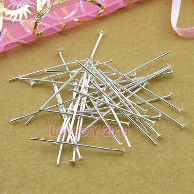Silver Plated Head Pins 16mm,20mm,30mm,40mm-70mm Jewelry Making Findings R0013
