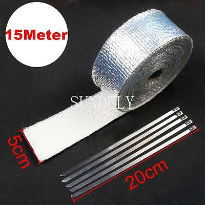 "NEW! 2"" x 50FT Silver Lava Exhaust/Header Pipe HeatShield Wrap Car/Motorcycle"