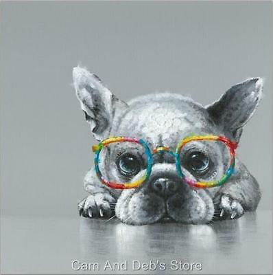 Dog With Glasses Stretched Canvas Print Picture Wall Art 80 cm