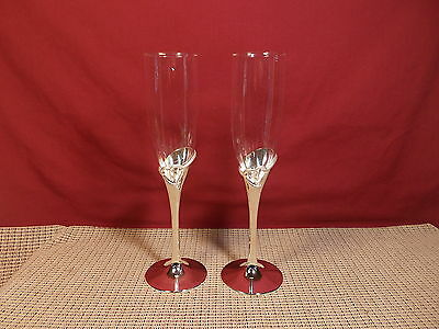 """Lenox Crystal Forevermore Champagne 2 Flutes 9 1/2"""" Crystal w Silver Plate Stem"""