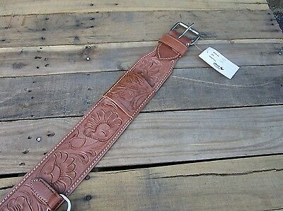 Floral Tooled Heavy Leather Back Rear Cinch Flank Billet Western Horse Girth