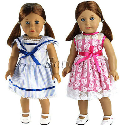 Miunana 2 Handmade Dress Clothes Wears Outfits for 18 Inch American Girl Doll