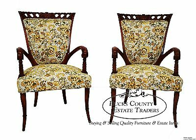Vintage Pair of French Style Carved Fireside Arm Chairs