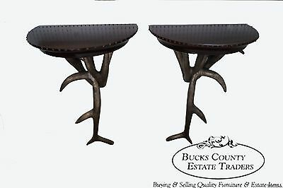 Unusual Pair of Faux Antler Demilune Hanging Wall Consoles Tables