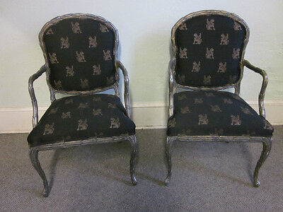 Pair of Silver Gilt Carved Regency Style Arm Chairs
