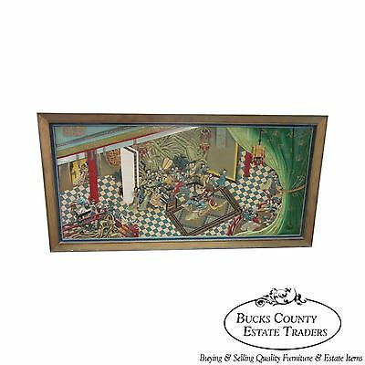 Unusual Hand Carved Oriental Chinoiserie Palace Scene Wall Mural Plaque