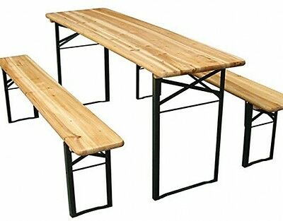 Outdoor Garden Camping Party Beer Wooden Trestle Table And Bench 3-pc Set