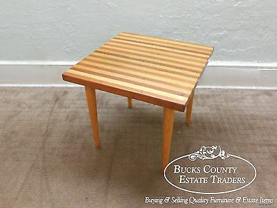 Mid Century Modern Mixed Woods Butcher Block Style Square End Table