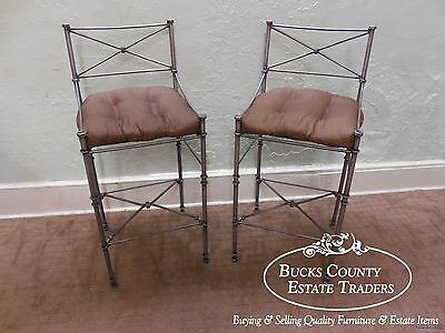 Quality Iron Neo Classical Directoire Style Pair of Barstools