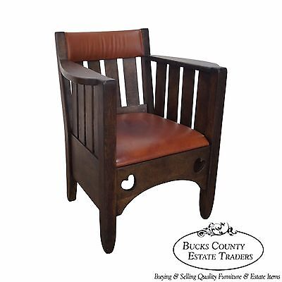 Antique Mission Oak & Leather Cube Chair