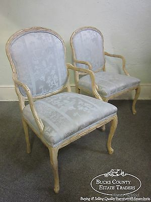 Hollywood Regency Pair of French Tree Formed Arm Chairs (B)