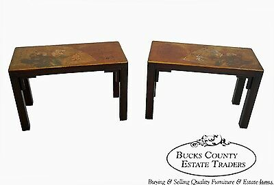 Mid Century Vintage Pair of Asian Paint Decorated Side Tables