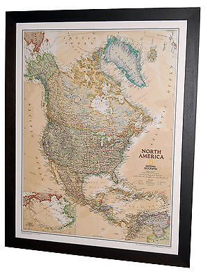 "Framed North America Map - National Geographic Executive - 27"" x 33"""