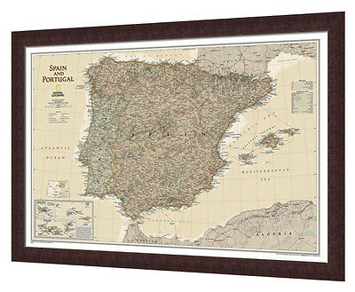 "Framed Spain & Portugal Map - National Geographic Executive - 34"" x 23"""