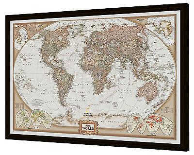 "Framed World Map - National Geographic Executive 39"" x 27"""