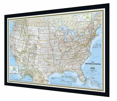 "Framed USA Map - National Geographic Classic - 39"" x 27"""